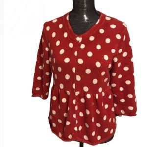 Lucky brand polka dot peplum sweater red and white